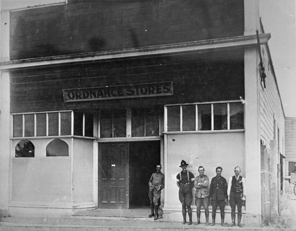 NZ Army Ordnance Stores, 327 Main Street, Palmerston North circa 1930. Palmerston North Libraries and Community Services