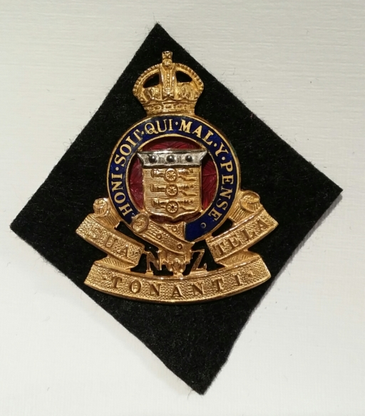 1947-55 RNZAOC Badge (Officers Gilt, Silver & Enamel) on Kayforce black diamond. Robert Mckie collection