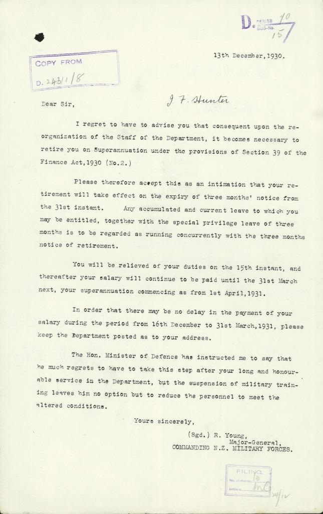 Hunter retirement letter