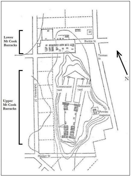 Plan of Mount Cook Barracks, as planned c.1845 and largely as built by 1852.