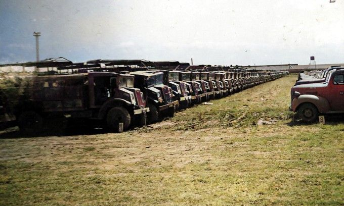 3 NZ Division Tricks and Tanks parked at Main Ordnance Depot, Mangere Bulk Depot on their Return from the Pacific in 1944. Alexander Turnbull Library