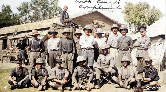 New Zealand Supply Depot Staff at Zeitoun Camp, 1915 (Colourised). National Army Museum of New Zealand